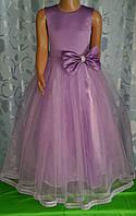 Нарядное длинное детское платье с бантом