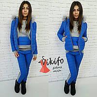 Теплый зимний костюм тройка: куртка, штаны и кофта, утеплен силиконом, мех натуральный. Синий цвет