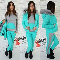 Теплый зимний костюм тройка: куртка, штаны и кофта, утеплен силиконом, мех натуральный. Бирюзовый цвет