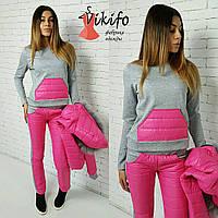 Теплый зимний костюм тройка: куртка, штаны и кофта, утеплен силиконом, мех натуральный. Розовый цвет