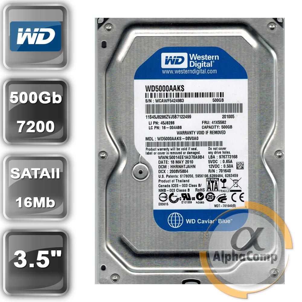 """Жесткий диск 3.5"""" 500Gb WD WD5000AAKS (16Mb/7200/SATAII) БУ"""