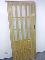 Дверь гармошка 860х2030х12мм полуостекленная  дуб золотой 6103