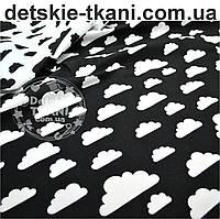 Ткань хлопковая с белыми облаками разной величины на чёрном фоне, плотность 125г/м.кв., № 565а