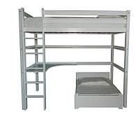 Детская двухъярусная кровать со столиком и полочкой для небольшой комнаты, модель Л-305. Скиф