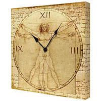 Часы на холсте настенные с принтом Витрувианский человек