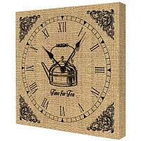 Часы настенные на кухню с принтом Чаепитие