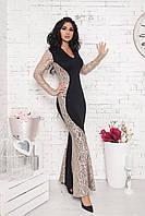 Силуэтное платье макси с гипюром 961 НС