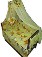 Постельное бельё в детскую кроватку мишки на звезде желтые 6 элементов