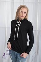 Кофта женская Твин черная на флисе, свитера женские