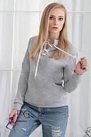 Кофта женская Твин серая на флисе , свитера женские
