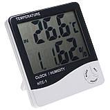 Цифровий термо-гігрометр AIRO HTC-1 (термометр: -10 °C~+50 °C; гігрометр: 10%-99%), годинник, будильник, фото 3