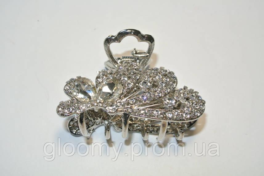 Краб для волос,метал, камни 7 см