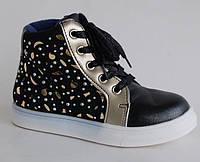 Jong Golf арт.B2563-0 черный-золото     Демисезонные ботинки для девочек.