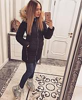 Теплая удлиненная женская зимняя куртка на ситепоне, мех искусств. съемный. Размеры 42,44,46,48. Темно синяя