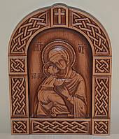 Резная икона Владимирской Богоматери (200Х270х18 мм), фото 1