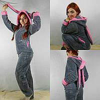 Домашний женский костюм-пижама  с ушками 4 цвета