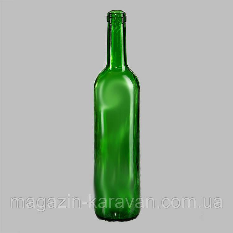 Винная стеклянная бутылка 0.75 зеленая
