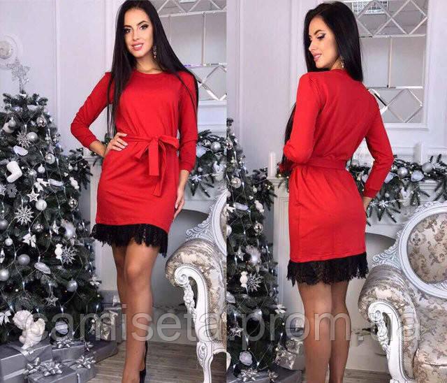 cbf82c3dd33 Платье женское короткое трикотажное с кружевной отделкой P5364 ...