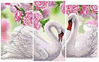 Схема для вышивки бисером Лебеди триптих