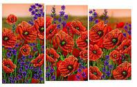 Схема для вышивки бисером Цветочное поле триптих