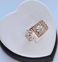 Перстень печатка покрытие золотом 18к. с цирконами