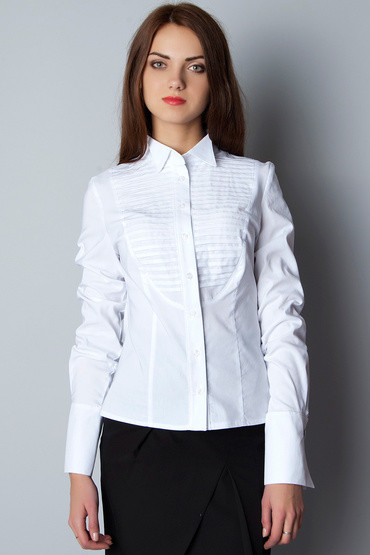 7e5e4b00918 Белая женская деловая блузка под галстук