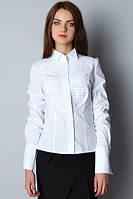 """Белая женская деловая блузка под галстук """"бабочка"""" Р06"""