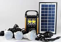 Кемпинговый фонарь на солнечной батарее GDLITE GD-8131: 6В, 4Ач, USB 10 переходников, 3 LED лампы