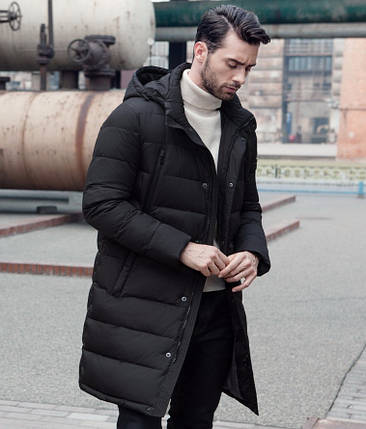 Зимнее мужское пальто со съемным капюшоном, фото 2