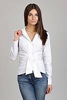 Белая женская блузка двубортная с поясом Р10