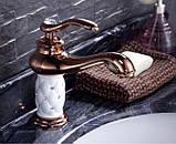 Смеситель кран для умывальника раковины в ванную однорычажный розовое золото, фото 2