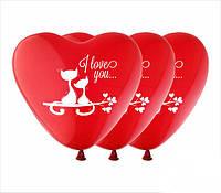 """Воздушные шарики сердца I Love You котята шелкография 12"""" (30 см) ТМ Show"""