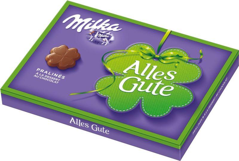 Шоколадні цукерки у коробці Milka Alles Gute з праліне, 110 гр