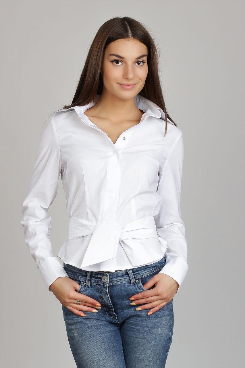 6ee7fe9cd9d Белая женская рубашка с галстуком Р23 - 2 Льва ® в Киеве