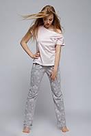 Женская пижама в серо-розовых оттенках. Футболка, штаны Piżama Scarlet Sensis