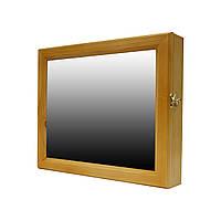 Ключница настенная деревянная 35х29см с зеркалом