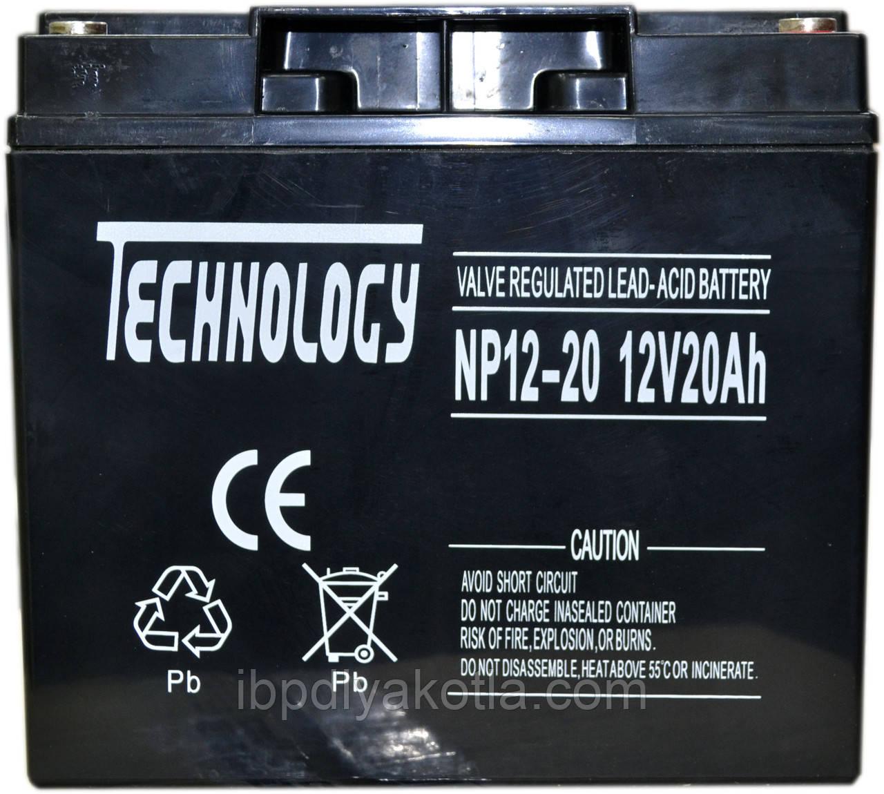 Аккумулятор мультигелевый TECHNOLOGY NP12-20Ah 12V 20AH, (AGM) для ИБП