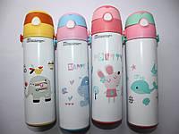 Детская бутылка-термос с трубочкой