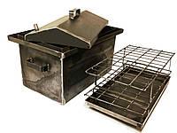 Коптильня Большая с гидрозатвором, горячекатаная сталь 2.0 мм (520х320х300мм) с крышкой домиком