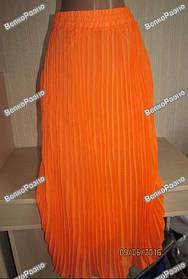Оранжевая женская длинная юбка в пол.