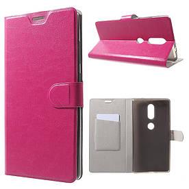 Чехол книжка для Lenovo Phab 2 Plus боковой с отсеком для визиток, гладкая кожа, малиновый