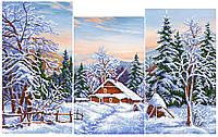 Схема для вышивки бисером  триптих Зимний пейзаж
