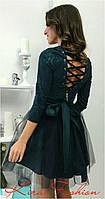 Нарядное женское платье с фатиновой юбкой и шнуровкой на спине, цвет бутылка