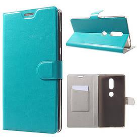 Чехол книжка для Lenovo Phab 2 Plus боковой с отсеком для визиток, гладкая кожа, голубой