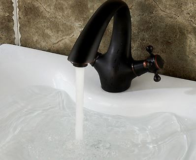 Смеситель кран черный для умывальника раковины в ванную двухвентильный