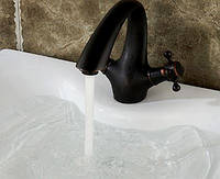 Смеситель кран черный для умывальника раковины в ванную двухвентильный, фото 1