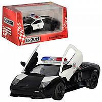 Машинка KT 5317 WP,  Lamborghini, полиция, металл, инерция, открываются двери, колеса резиновые, в коробке