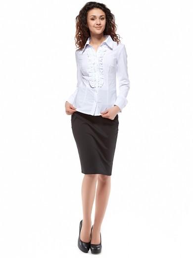 Белая женская блузка с рюшами, Р60