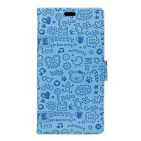 Чехол книжка для Doogee Y6 боковой с отсеком для визиток, Мультяшки, голубой