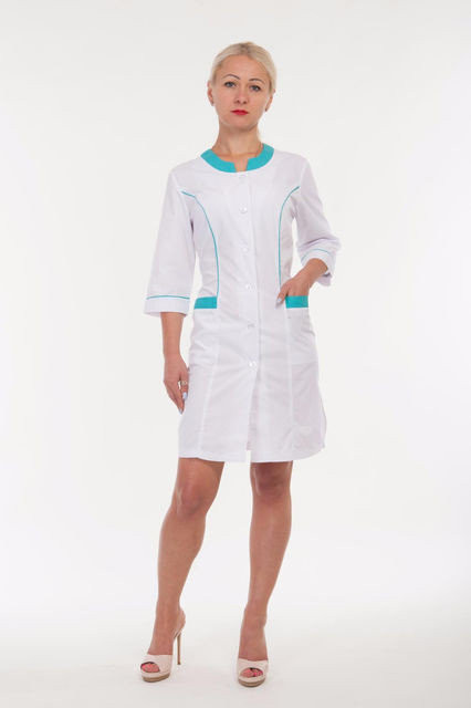 Качественный женский медицинский халат с бирюзовыми вставками. Размер 40-60